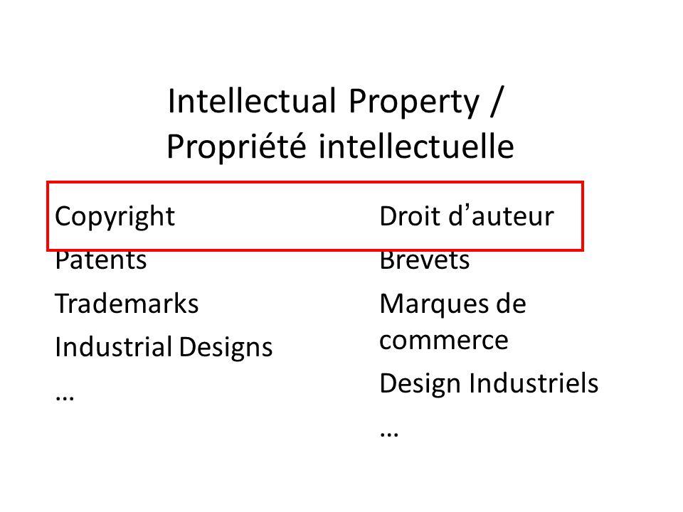 Intellectual Property / Propriété intellectuelle