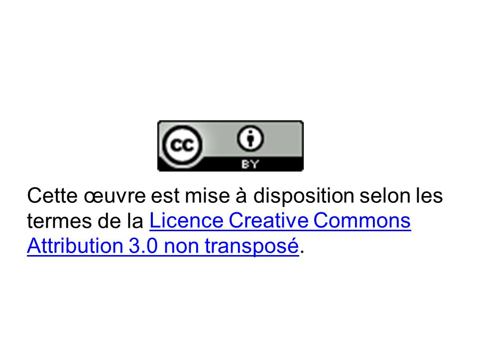 Cette œuvre est mise à disposition selon les termes de la Licence Creative Commons Attribution 3.0 non transposé.