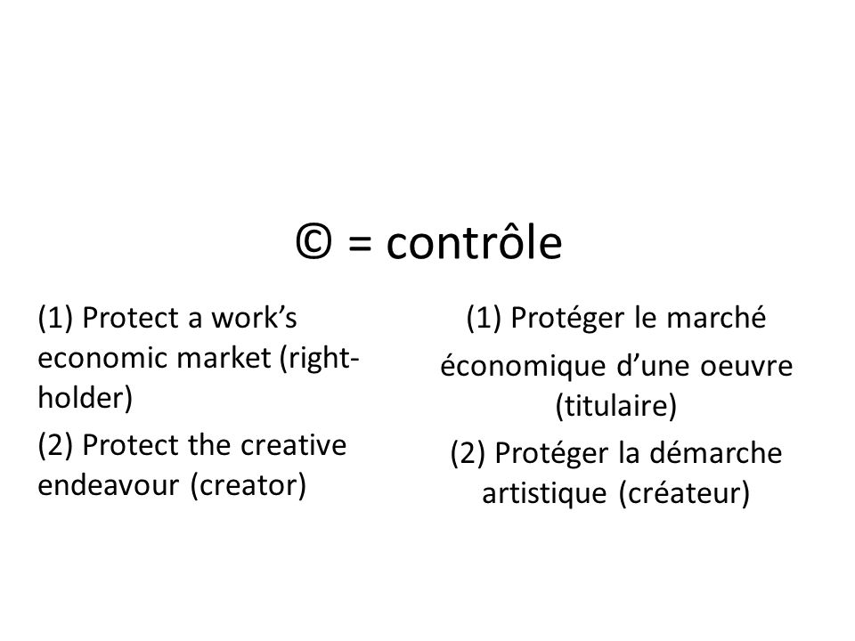 © = contrôle (1) Protect a work's economic market (right-holder)