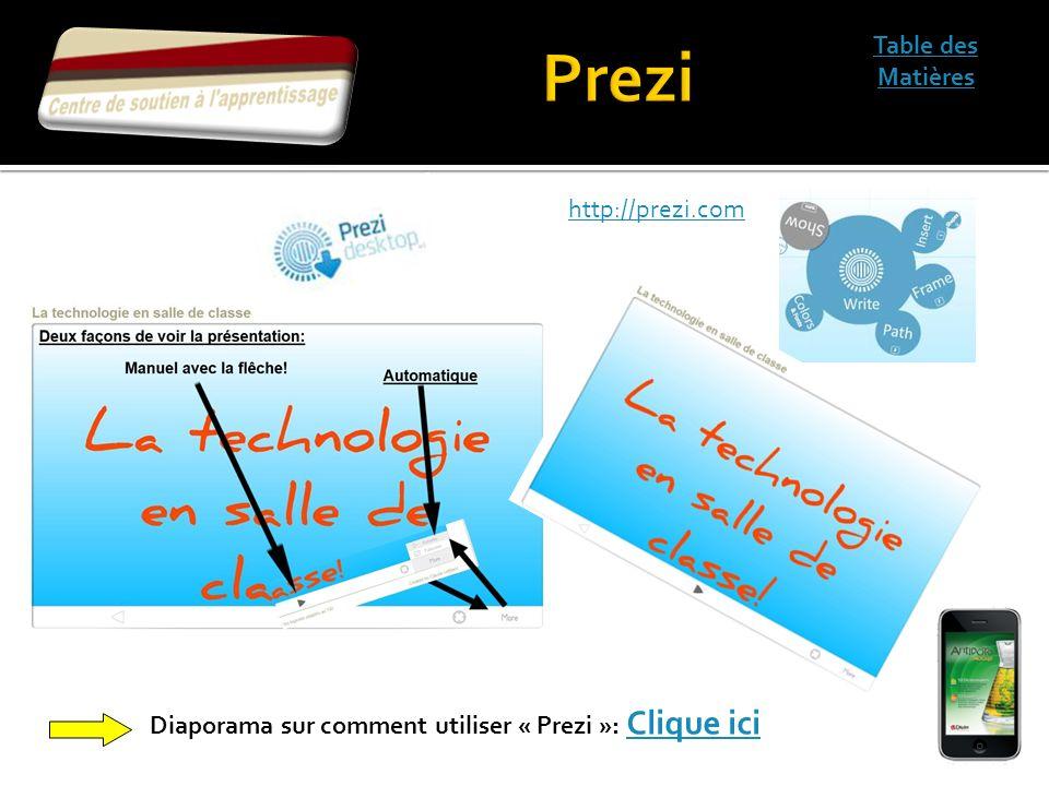 Prezi Table des Matières http://prezi.com