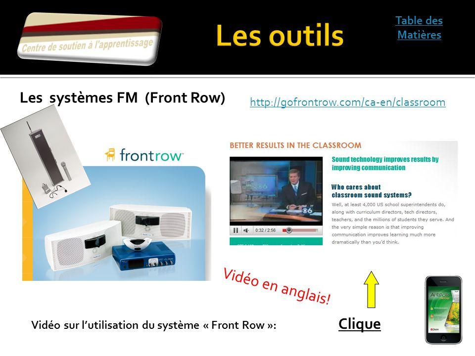 Les outils Les systèmes FM (Front Row) Vidéo en anglais!