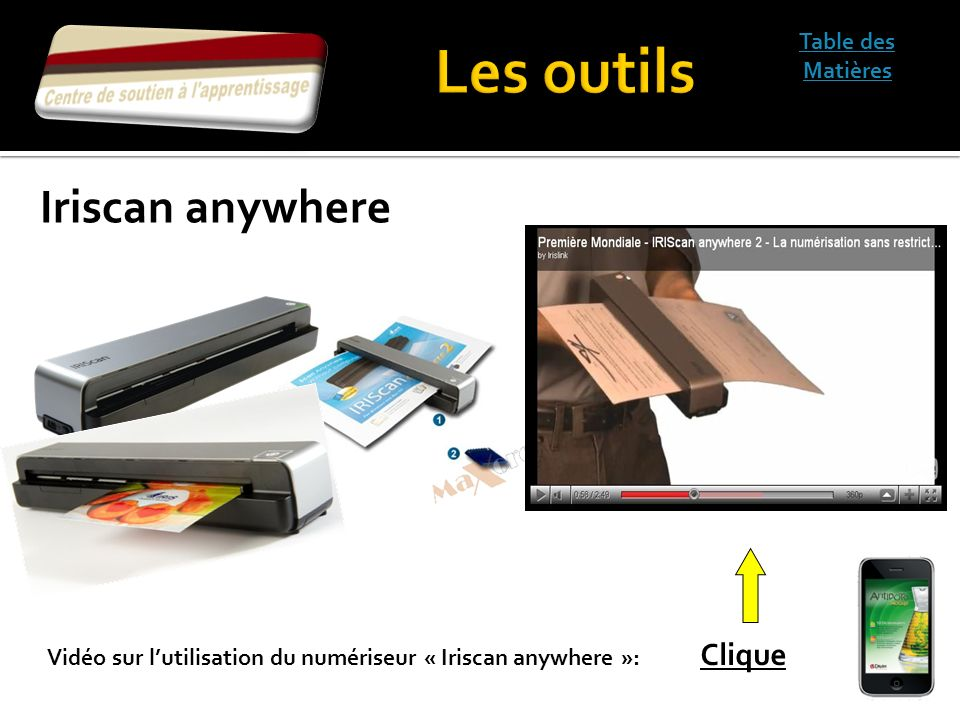 Les outils Iriscan anywhere Table des Matières