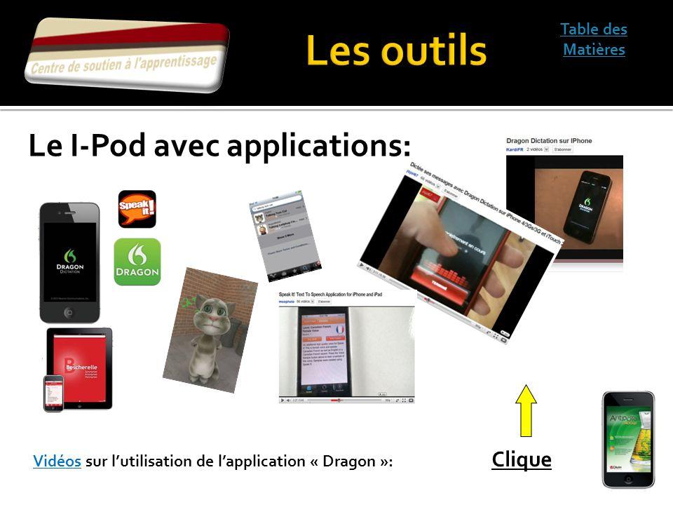 Les outils Le I-Pod avec applications: Table des Matières