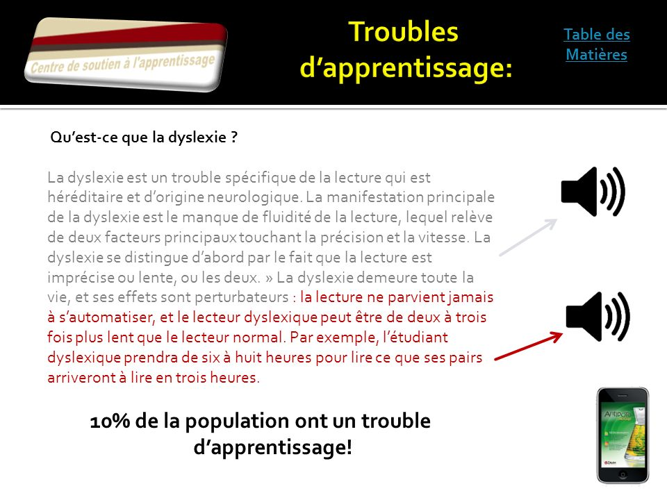 Troubles d'apprentissage: