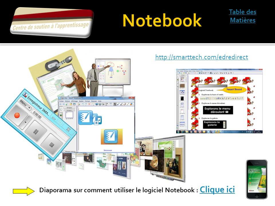 Notebook Table des Matières http://smarttech.com/edredirect