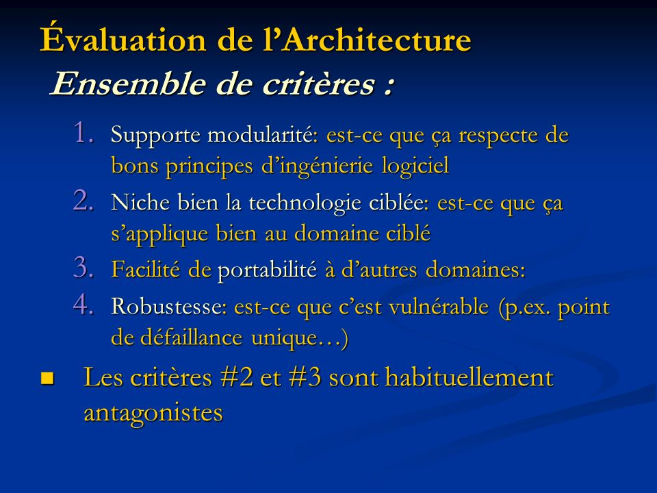 Évaluation de l'Architecture Ensemble de critères :