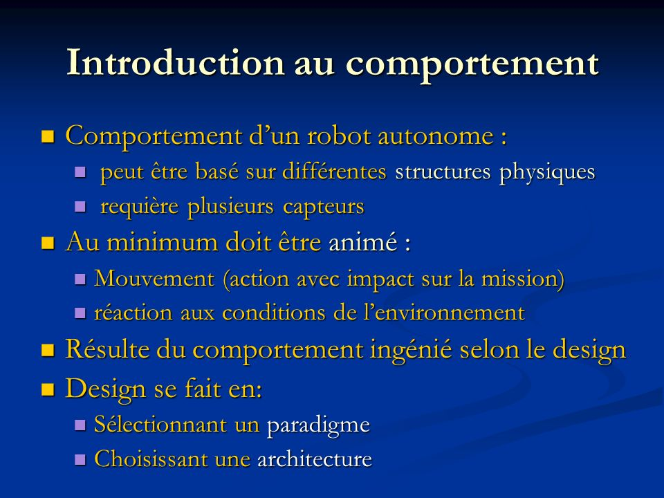 Introduction au comportement