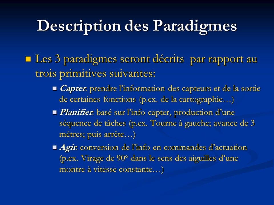 Description des Paradigmes
