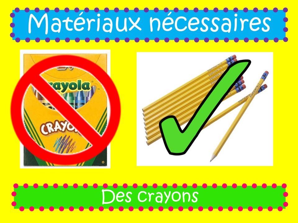 Matériaux nécessaires
