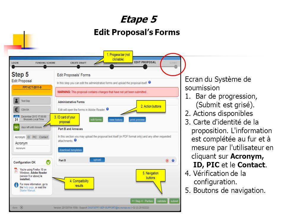 Etape 5 Edit Proposal's Forms Ecran du Système de soumission