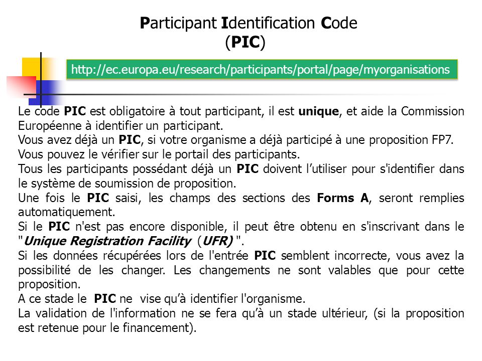 Participant Identification Code (PIC)