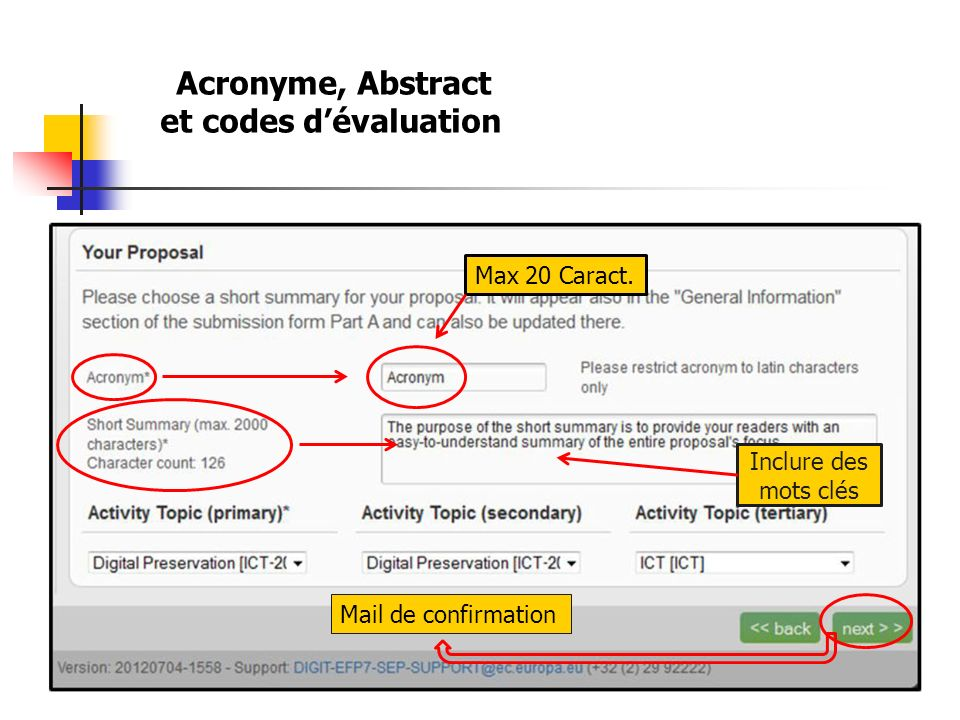 et codes d'évaluation Acronyme, Abstract Max 20 Caract.