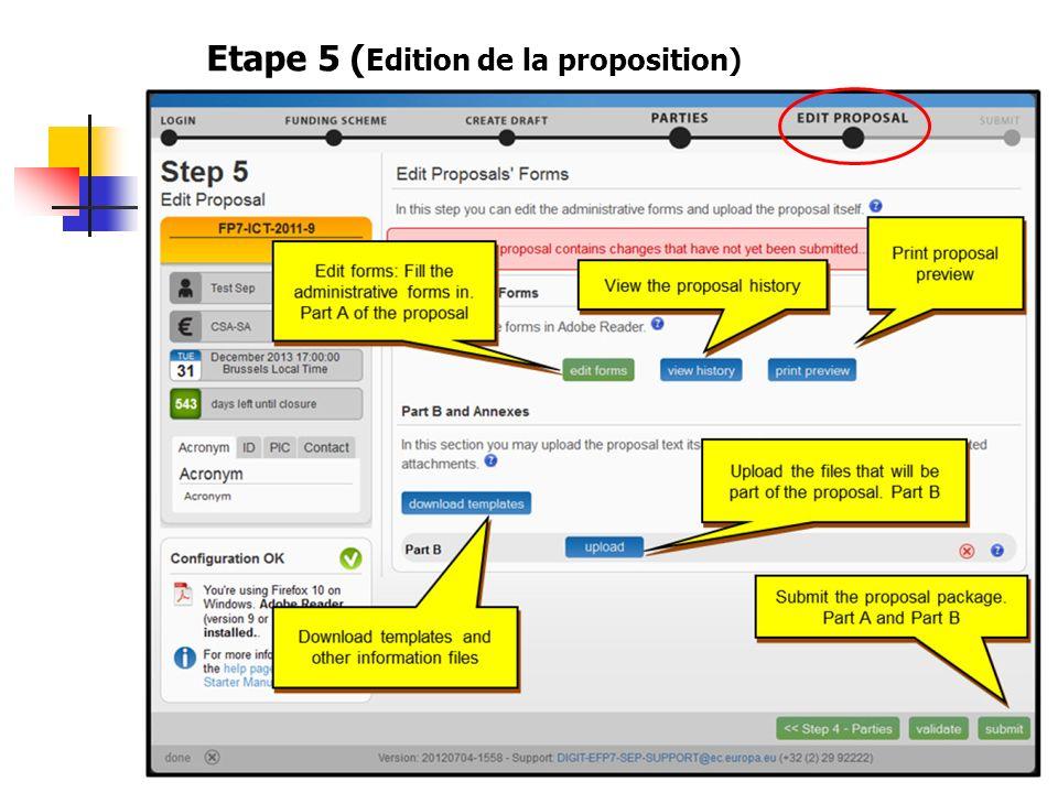 Etape 5 (Edition de la proposition)