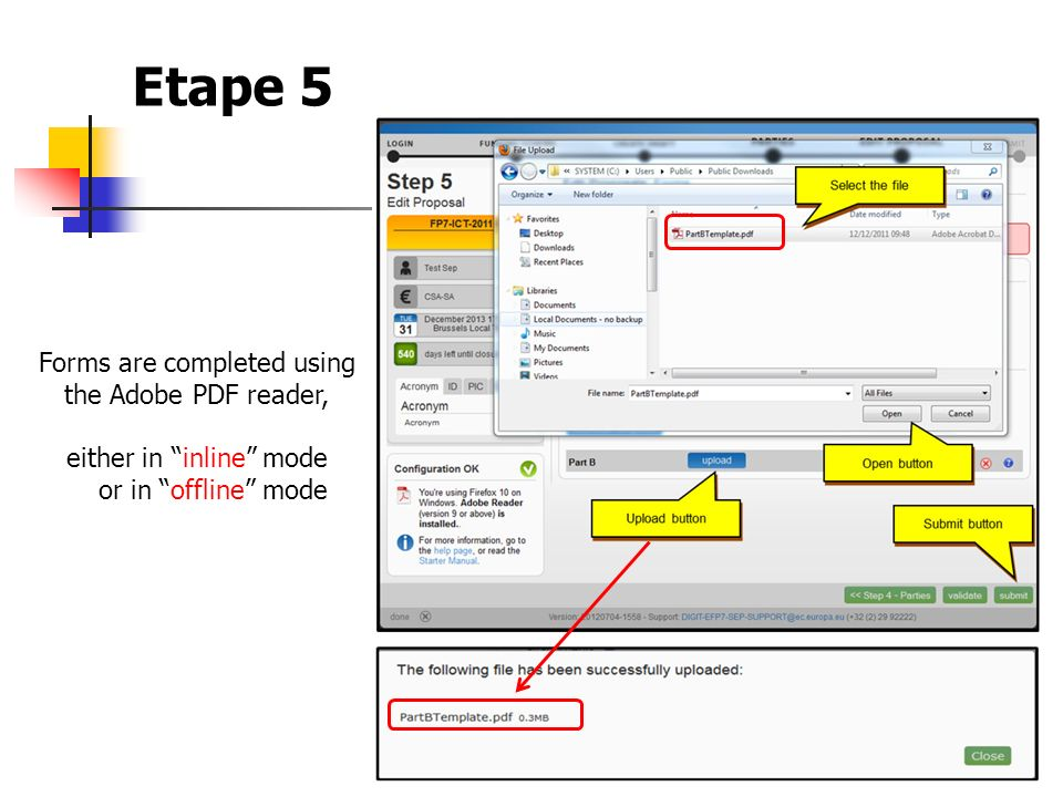Etape 5 Forms are completed using the Adobe PDF reader,