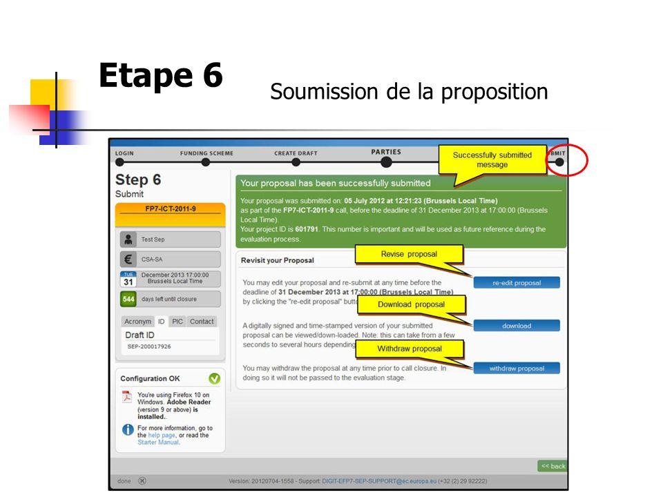 Etape 6 Soumission de la proposition