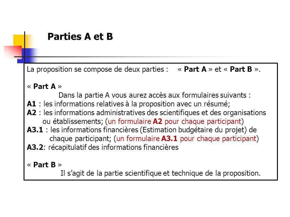 Parties A et B La proposition se compose de deux parties : « Part A » et « Part B ». « Part A »