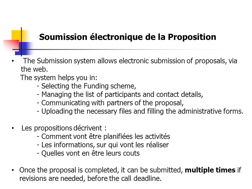 Soumission électronique de la Proposition