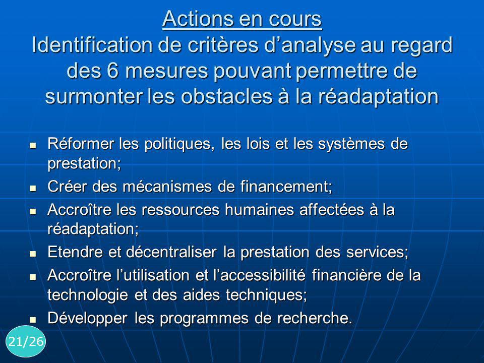 Actions en cours Identification de critères d'analyse au regard des 6 mesures pouvant permettre de surmonter les obstacles à la réadaptation