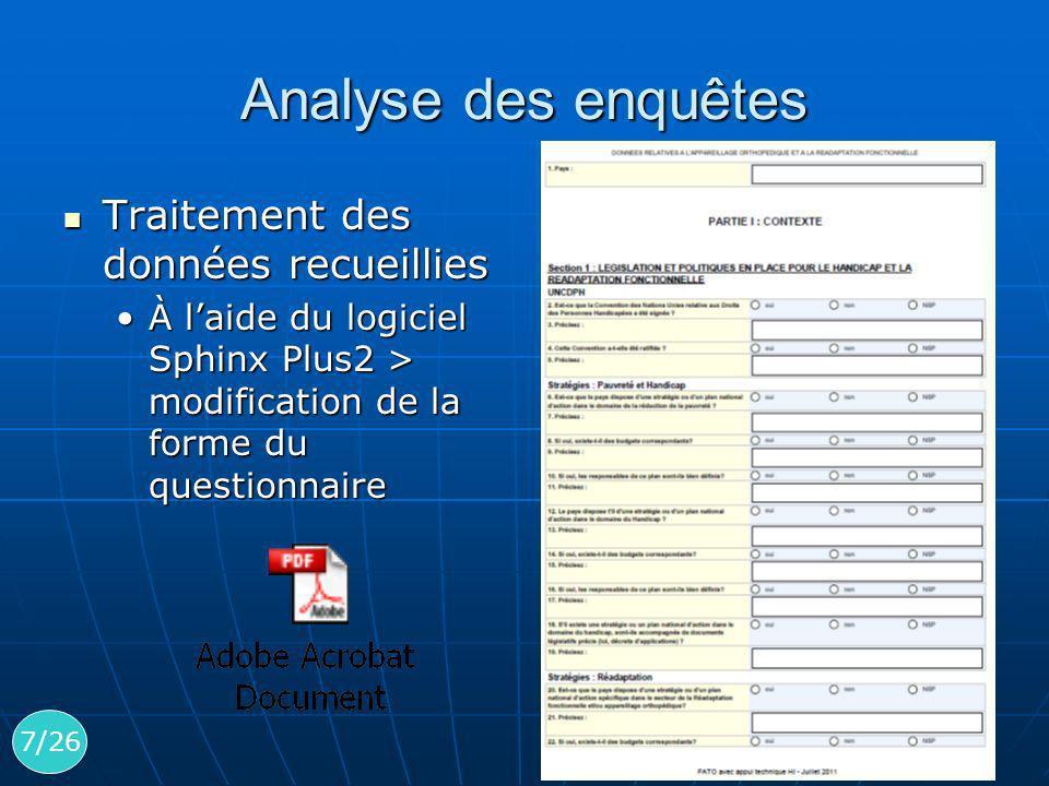 Analyse des enquêtes Traitement des données recueillies