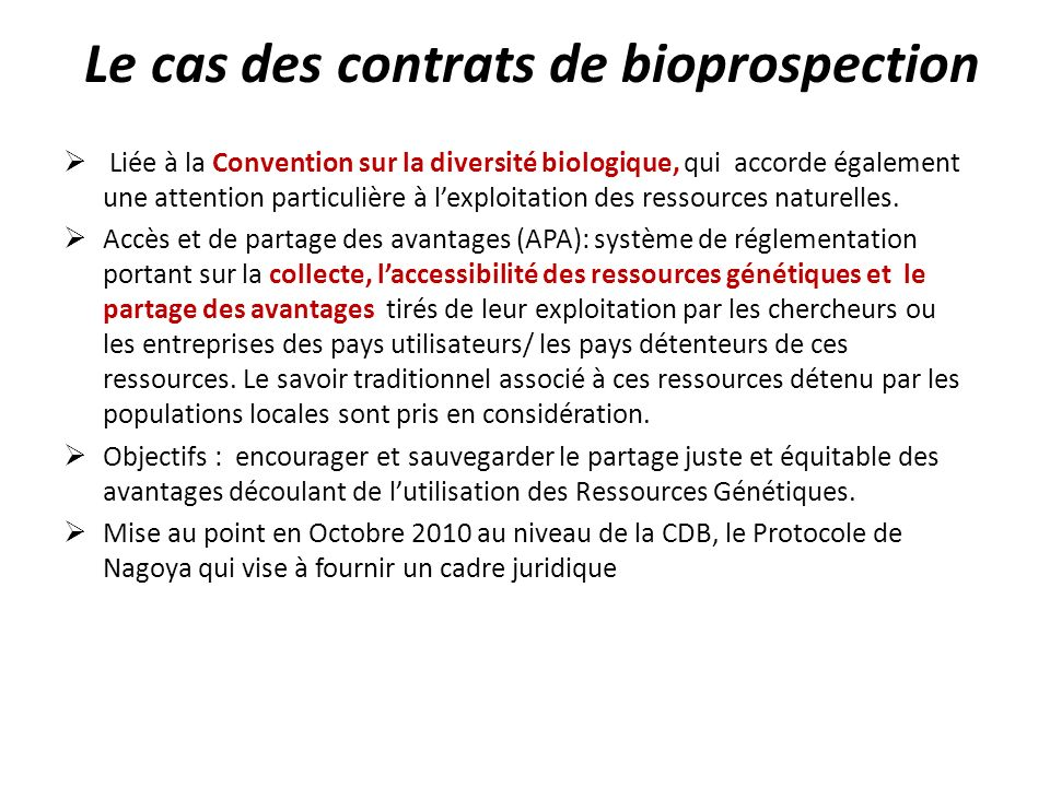 Le cas des contrats de bioprospection