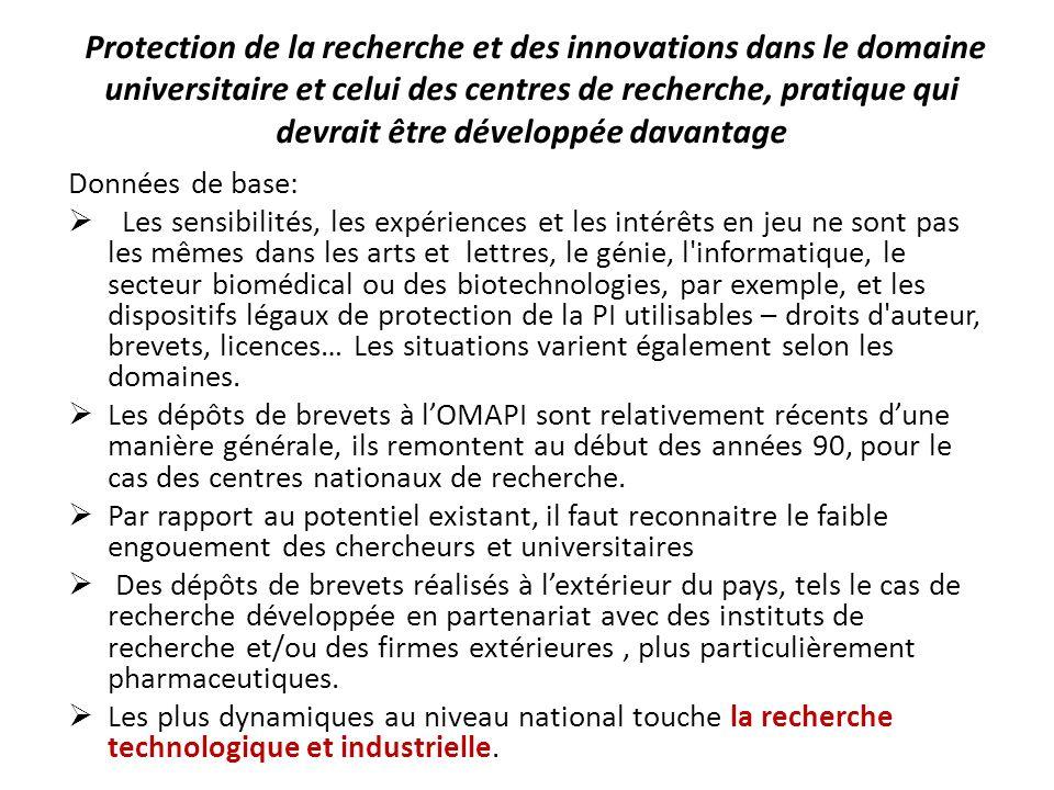 Protection de la recherche et des innovations dans le domaine universitaire et celui des centres de recherche, pratique qui devrait être développée davantage