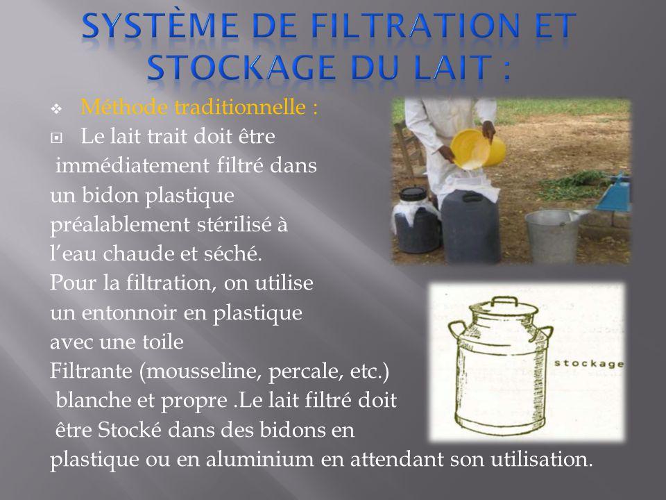 Système de Filtration et stockage du lait :