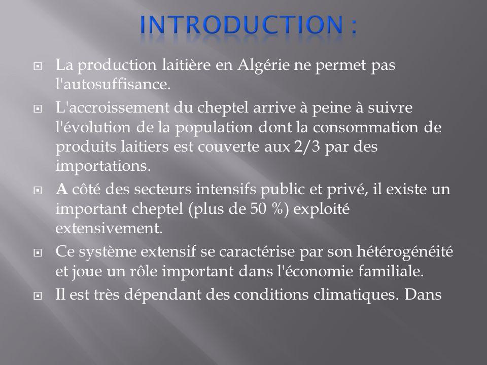 Introduction : La production laitière en Algérie ne permet pas l autosuffisance.