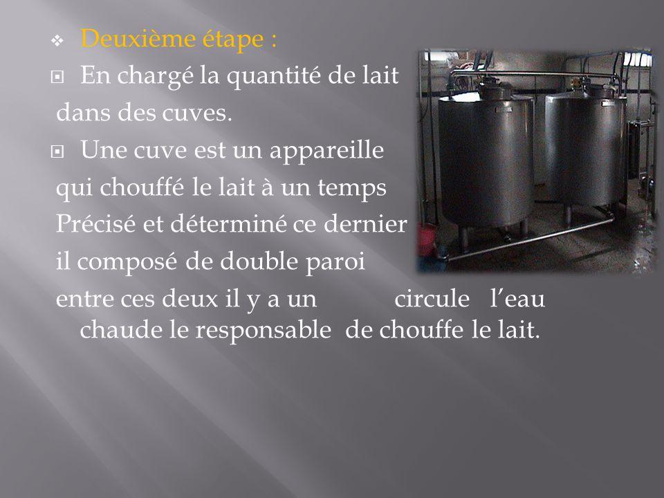 Deuxième étape : En chargé la quantité de lait. dans des cuves. Une cuve est un appareille. qui chouffé le lait à un temps.
