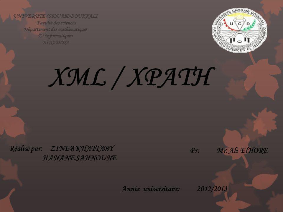 UNIVERSITE CHOUAIB DOUKKALI Département des mathématiques