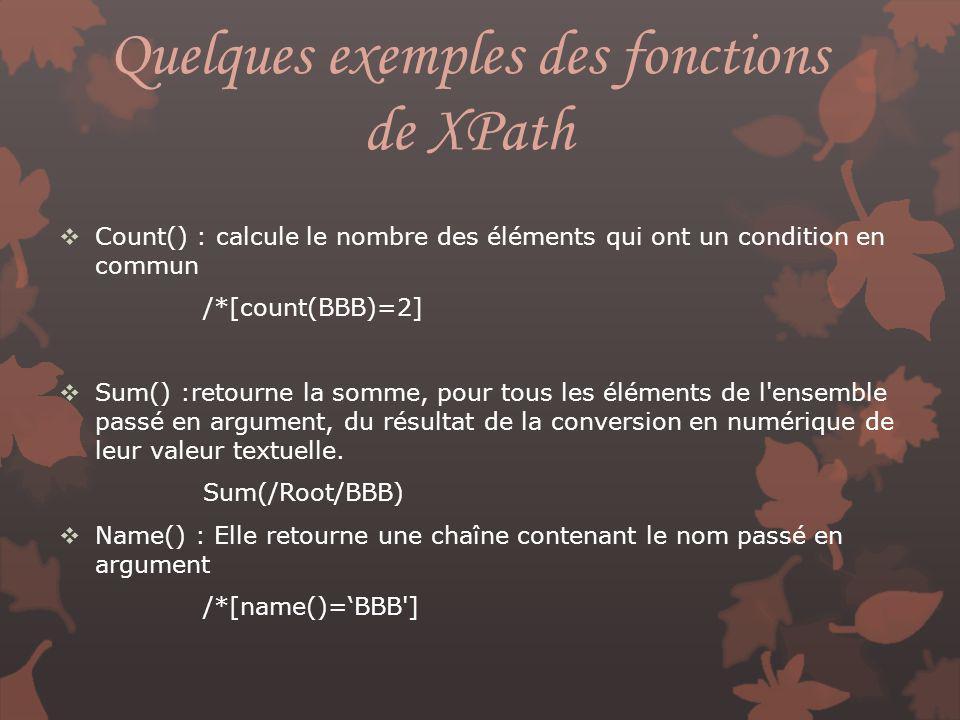 Quelques exemples des fonctions de XPath