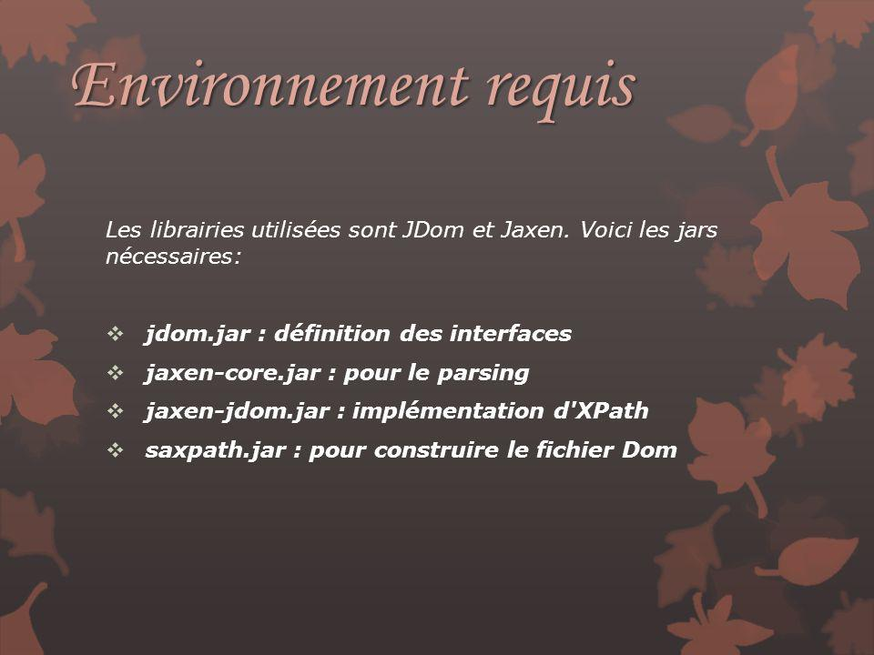 Environnement requis Les librairies utilisées sont JDom et Jaxen. Voici les jars nécessaires: jdom.jar : définition des interfaces.
