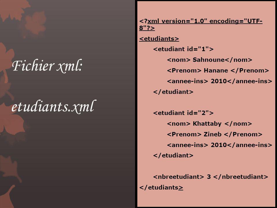 Fichier xml: etudiants.xml