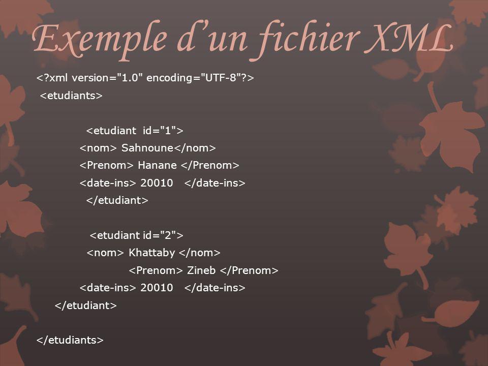 Exemple d'un fichier XML