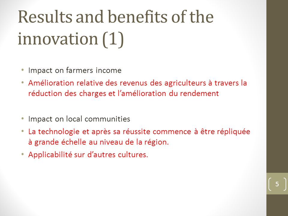 Results and benefits of the innovation (1)