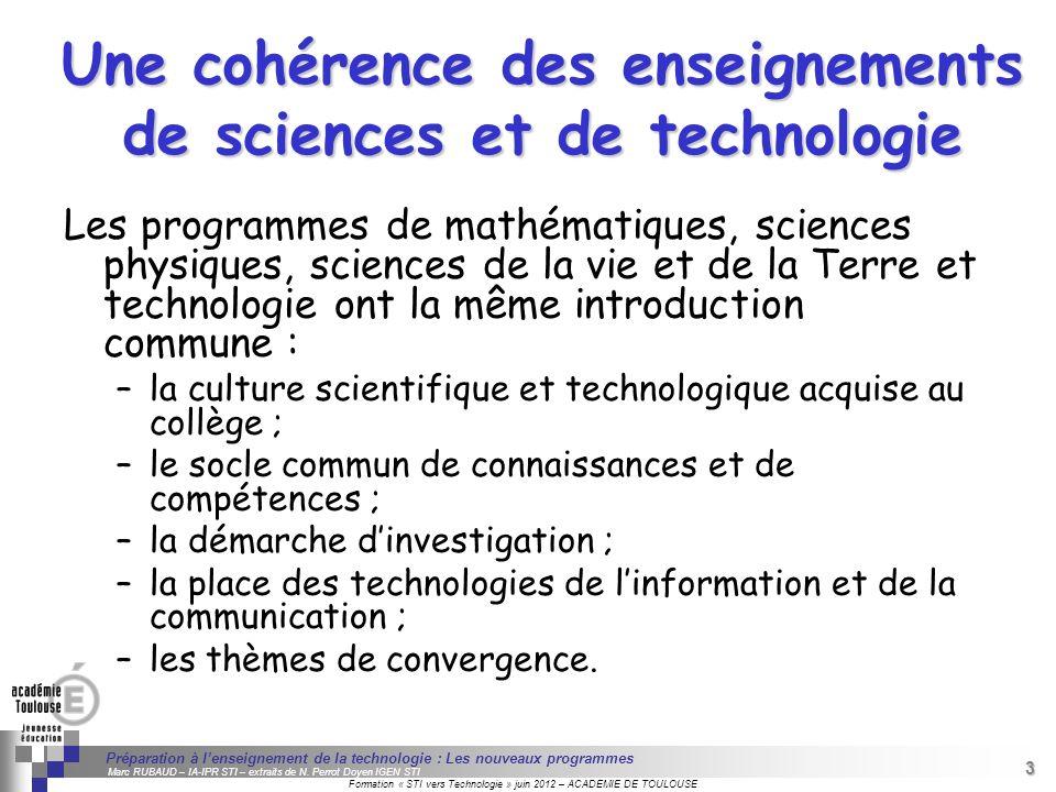 Une cohérence des enseignements de sciences et de technologie