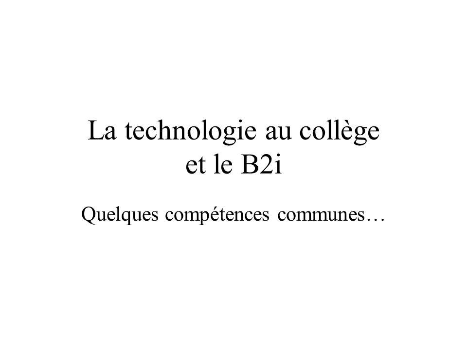 La technologie au collège et le B2i