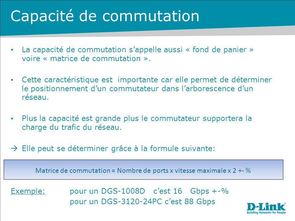 Matrice de commutation = Nombre de ports x vitesse maximale x 2 +- %