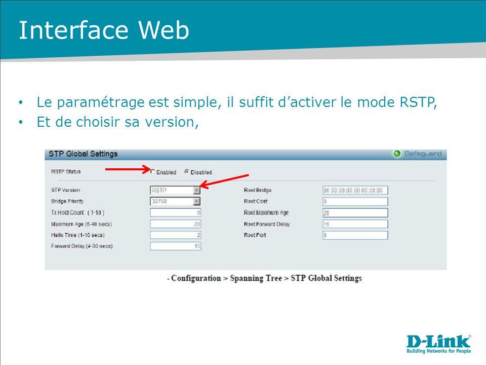 Interface Web Le paramétrage est simple, il suffit d'activer le mode RSTP, Et de choisir sa version,