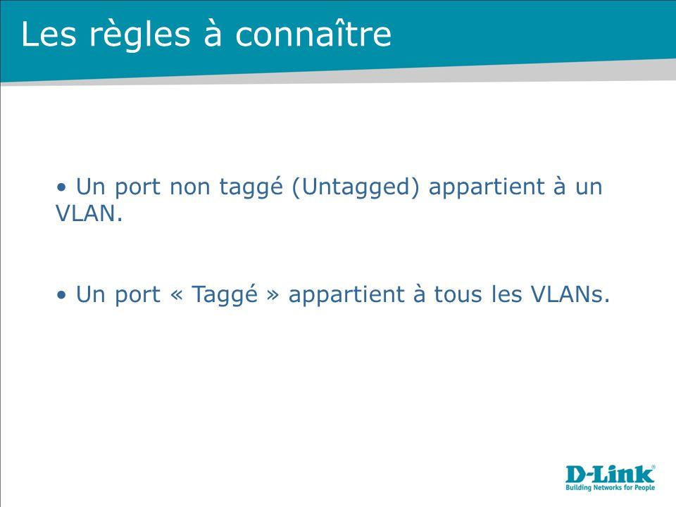 Les règles à connaître Un port non taggé (Untagged) appartient à un VLAN.