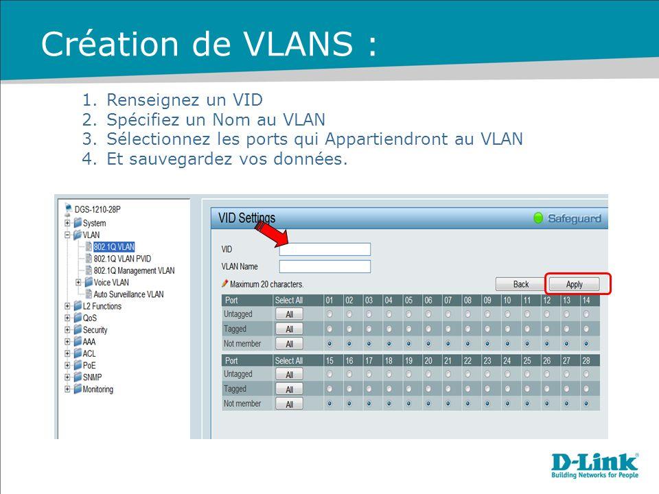 Création de VLANS : Renseignez un VID Spécifiez un Nom au VLAN
