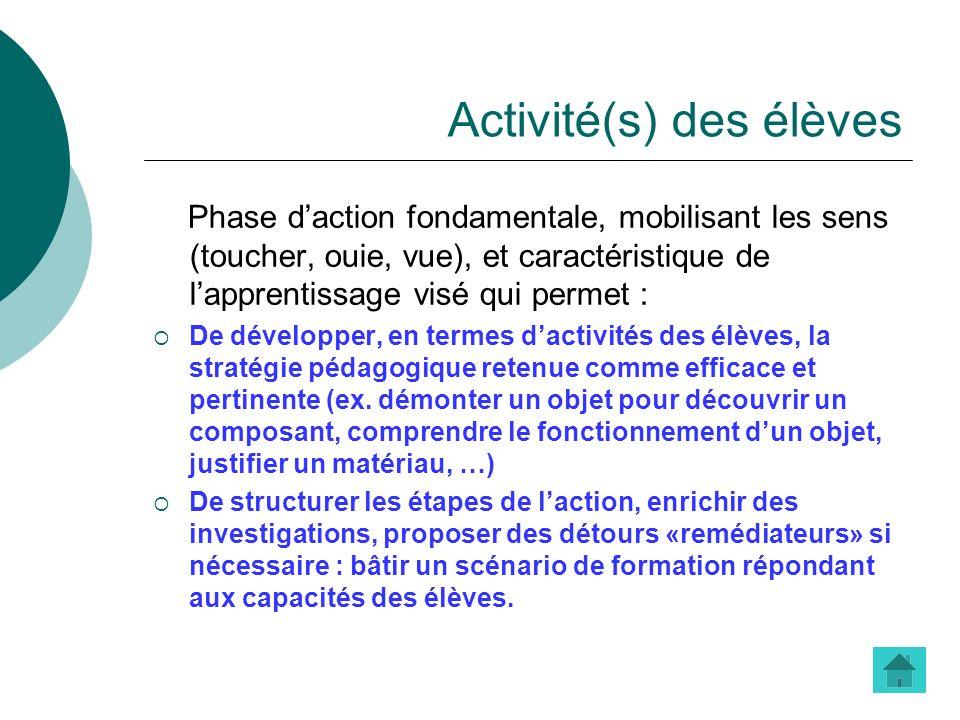 Activité(s) des élèves
