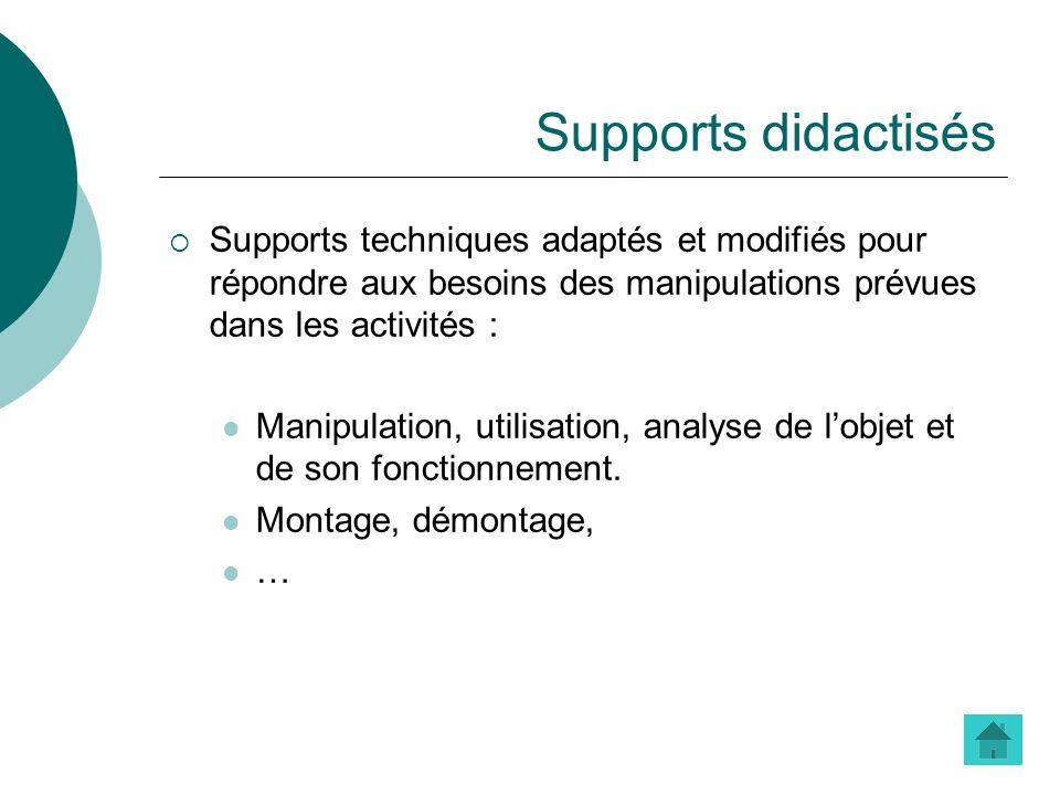 Supports didactisés Supports techniques adaptés et modifiés pour répondre aux besoins des manipulations prévues dans les activités :
