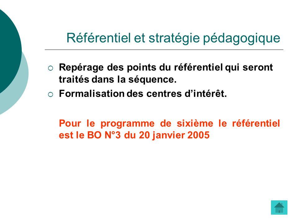 Référentiel et stratégie pédagogique