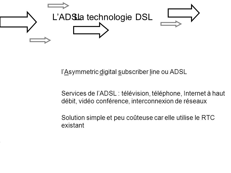 L'ADSL La technologie DSL l'Asymmetric digital subscriber line ou ADSL