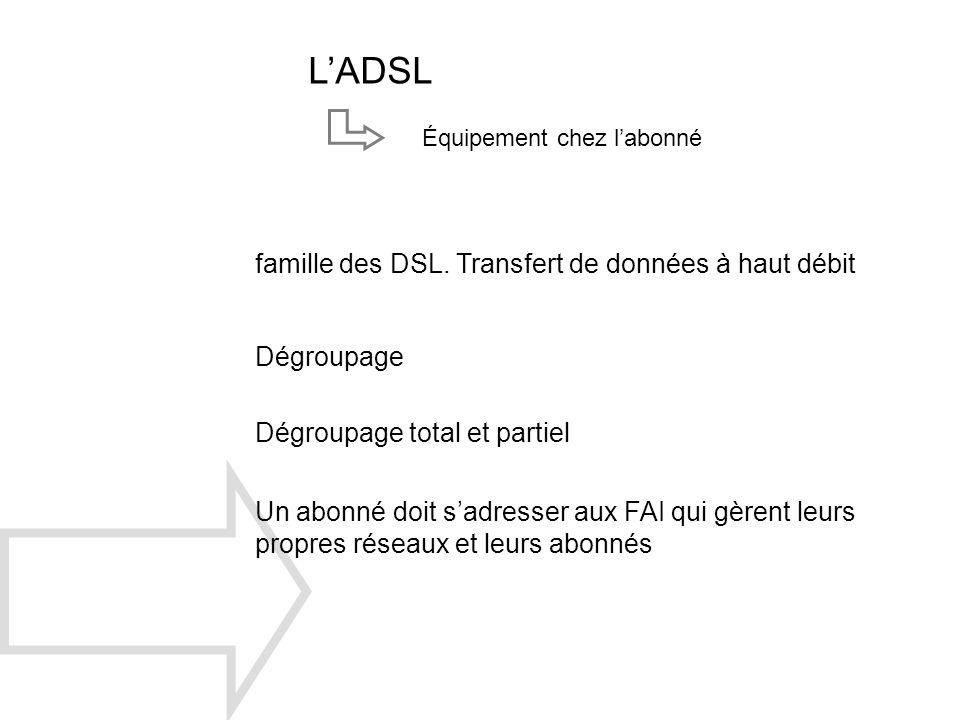 L'ADSL famille des DSL. Transfert de données à haut débit Dégroupage