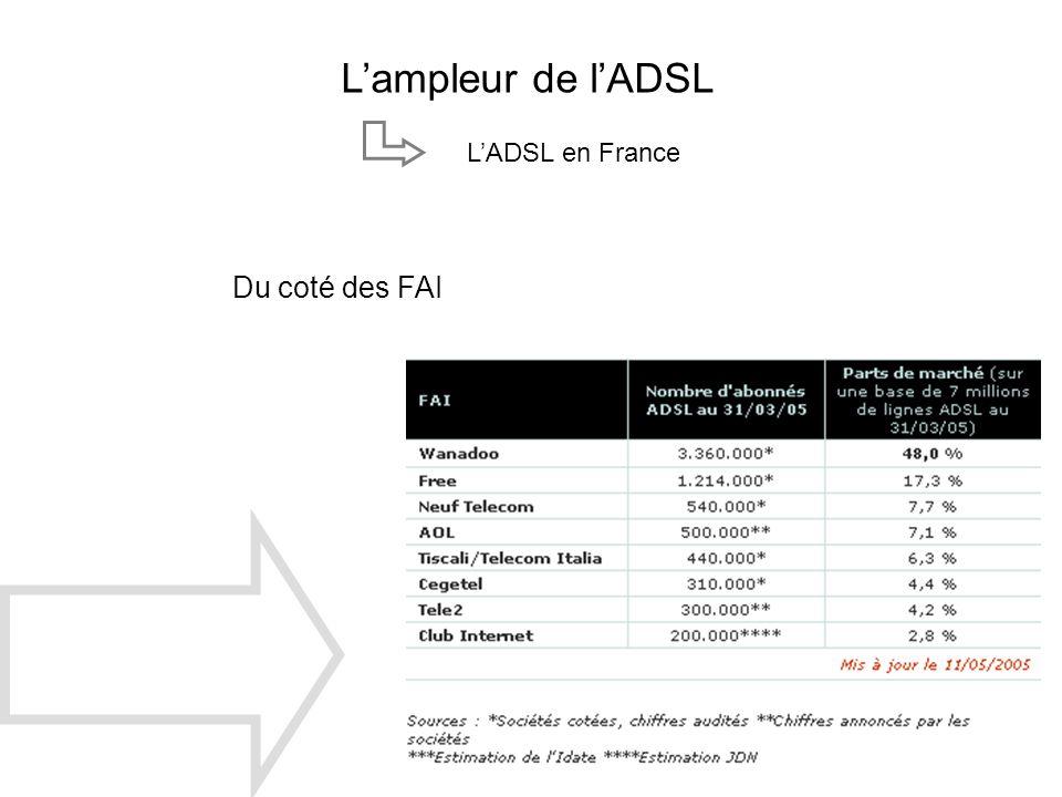 L'ampleur de l'ADSL L'ADSL en France Du coté des FAI