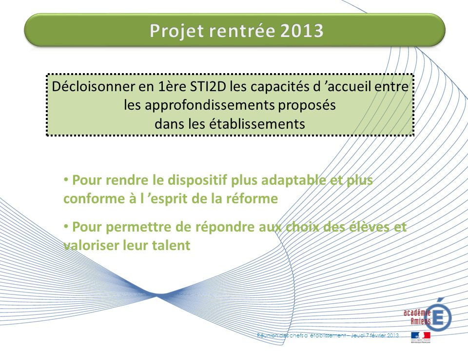 Projet rentrée 2013 Décloisonner en 1ère STI2D les capacités d 'accueil entre les approfondissements proposés dans les établissements.