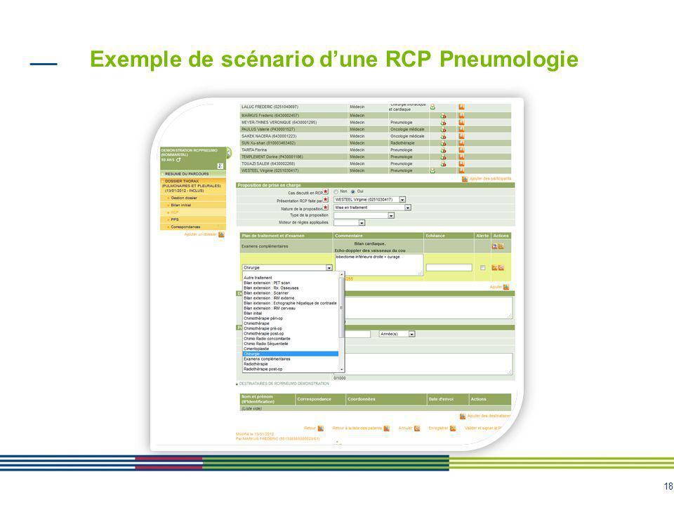 Exemple de scénario d'une RCP Pneumologie