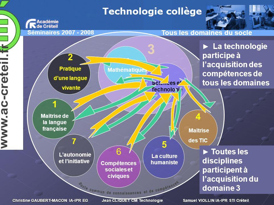 3 2 1 4 5 6 7 Socle commun de connaissances et de compétences