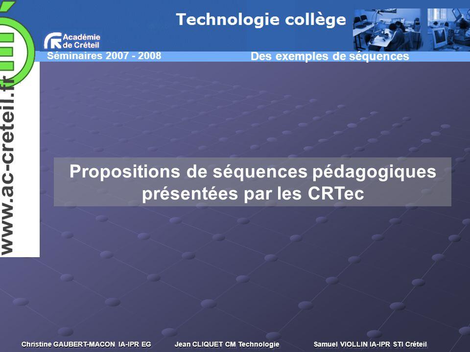 Propositions de séquences pédagogiques présentées par les CRTec